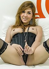 TS Sapphire Young In Black Bustie Stroking Her Shecock