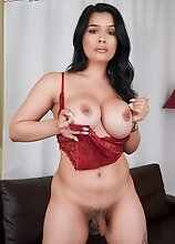 Busty TS Aubrey Starr posing and playing with her cock in this hot solo scene!