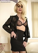 Joanna Jet - A black sheer bra, black skirt, black jacket and black boots makes for the perfect black ensemble