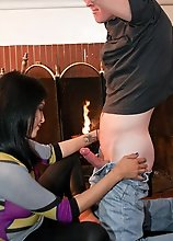 Jamie Page fucked by the fireplace